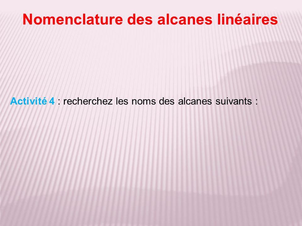 Nomenclature des alcanes linéaires