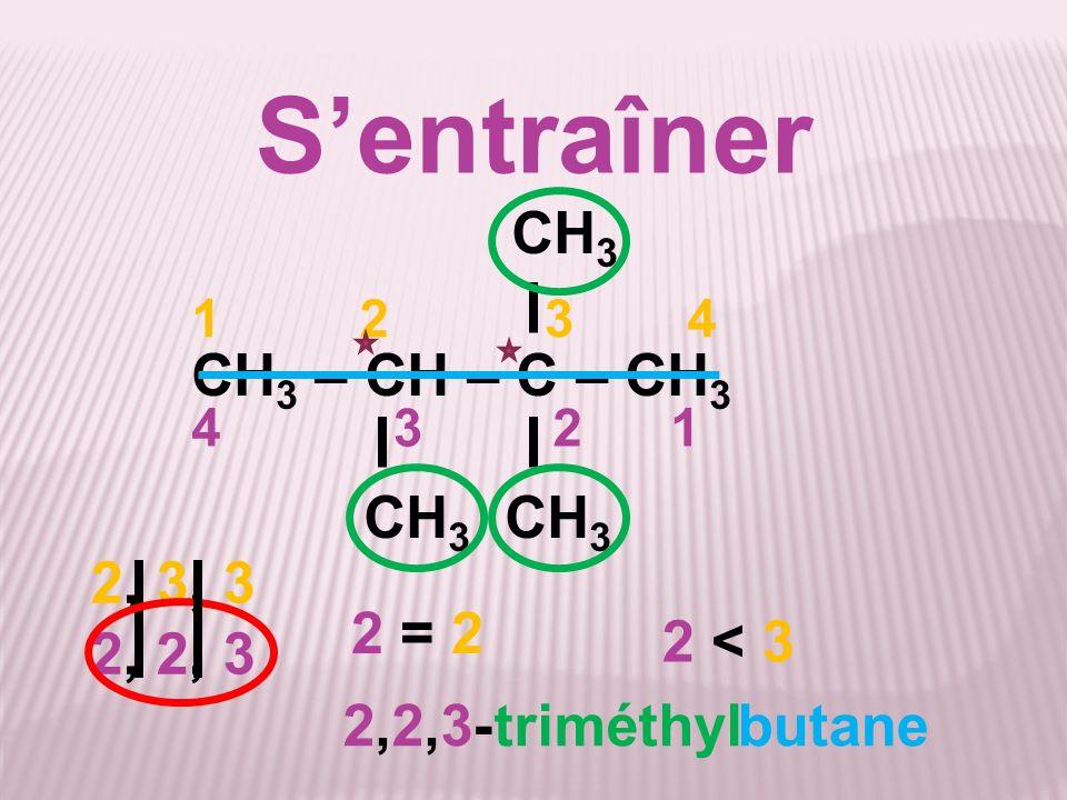 S'entraîner CH3 CH3 – CH – C – CH3 CH3 CH3 2, 3, 3 2, 2, 3 2 = 2