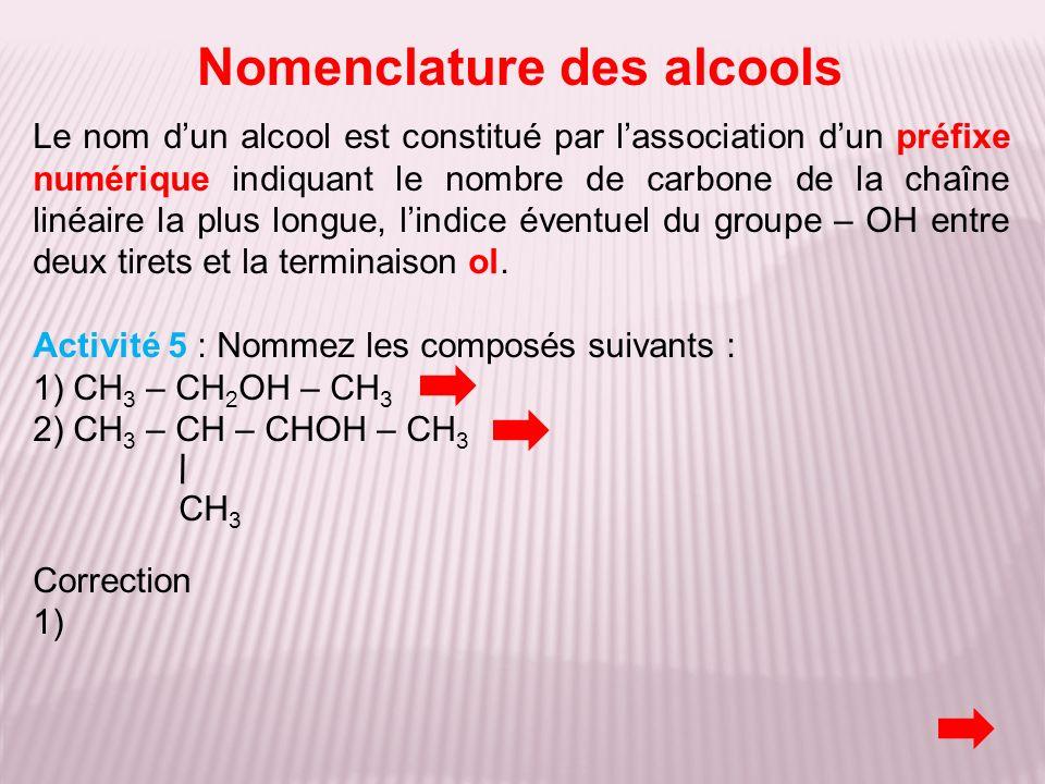 Nomenclature des alcools