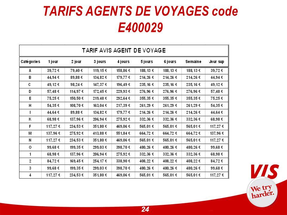 TARIFS AGENTS DE VOYAGES code E400029