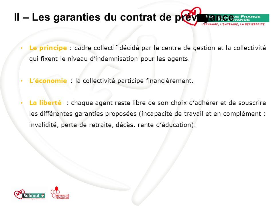 II – Les garanties du contrat de prévoyance