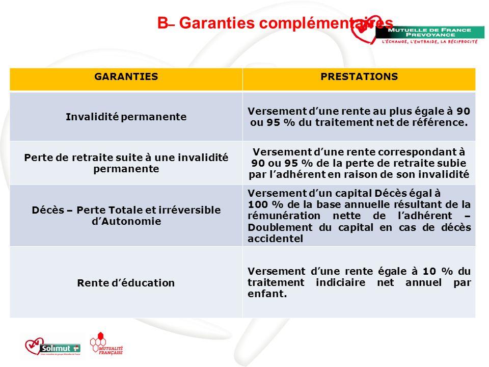 B– Garanties complémentaires