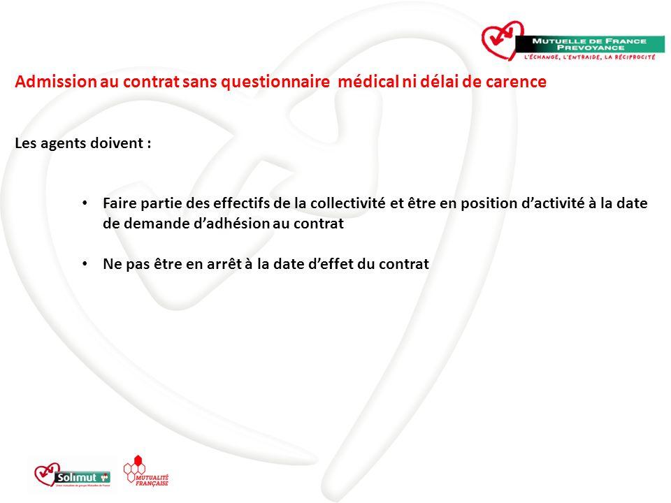 Admission au contrat sans questionnaire médical ni délai de carence