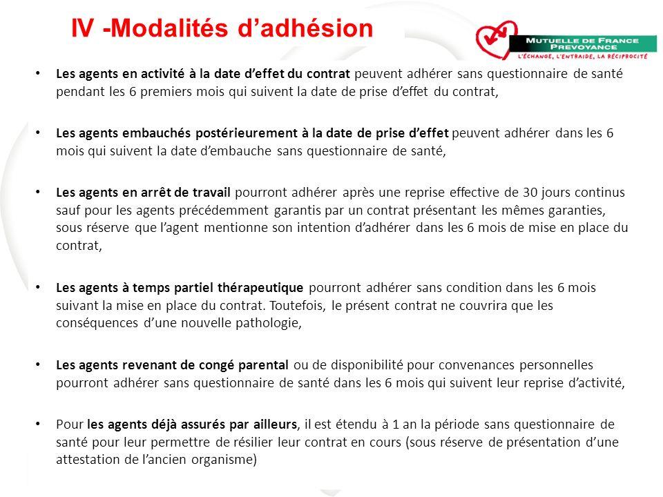 IV -Modalités d'adhésion