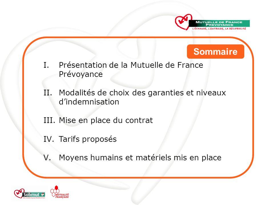 Sommaire Présentation de la Mutuelle de France Prévoyance