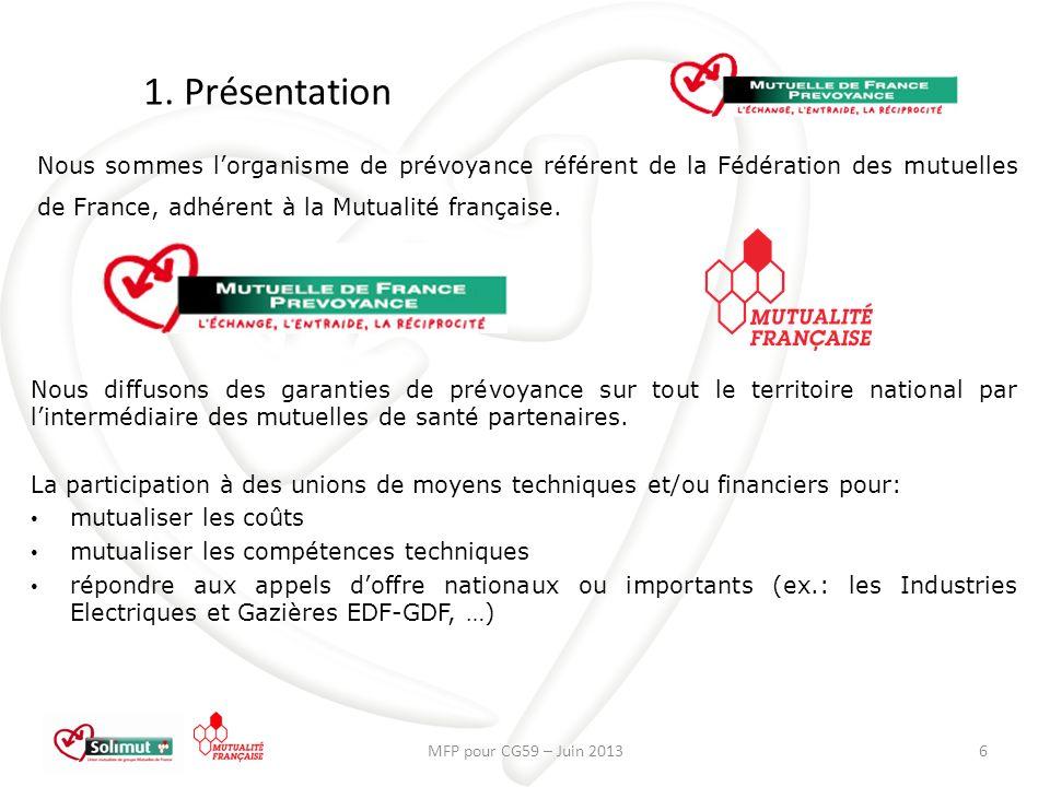 1. Présentation Nous sommes l'organisme de prévoyance référent de la Fédération des mutuelles de France, adhérent à la Mutualité française.
