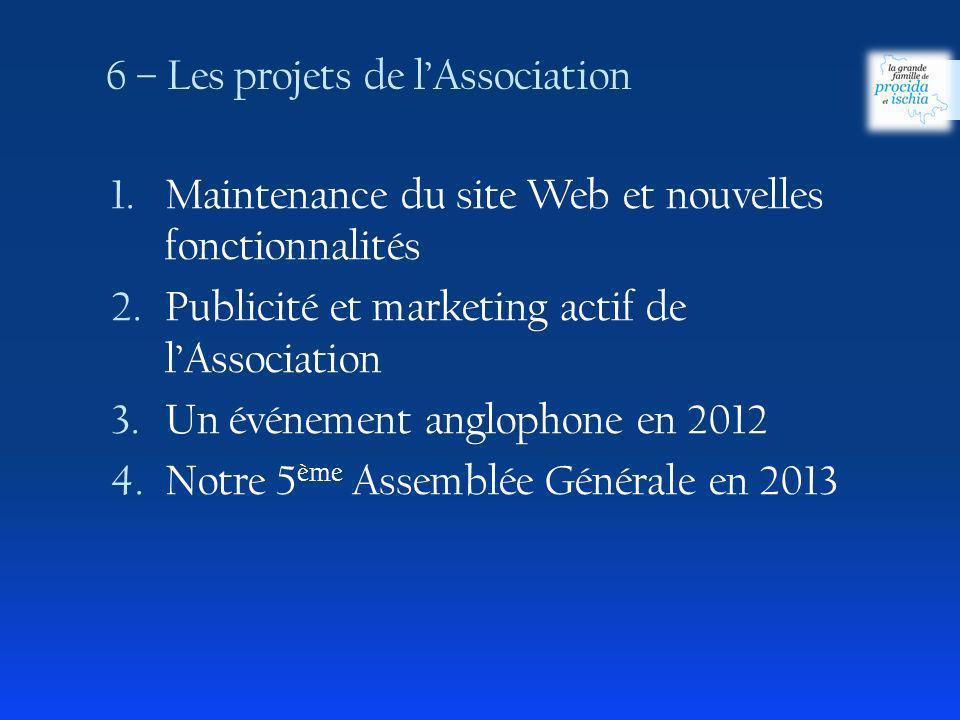 6 – Les projets de l'Association