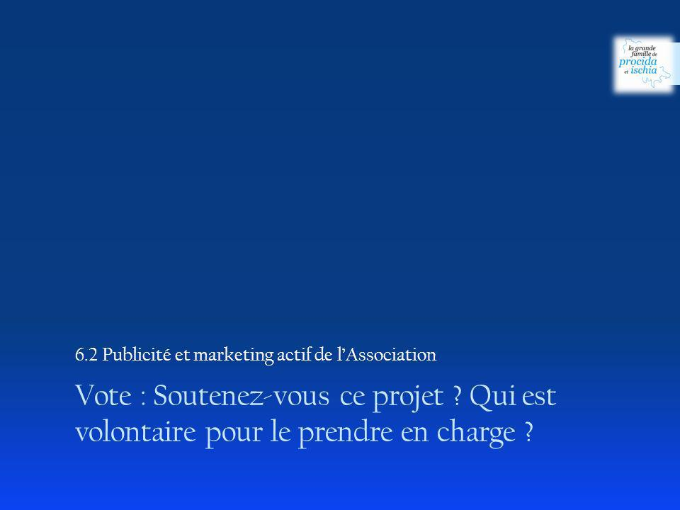 6.2 Publicité et marketing actif de l'Association