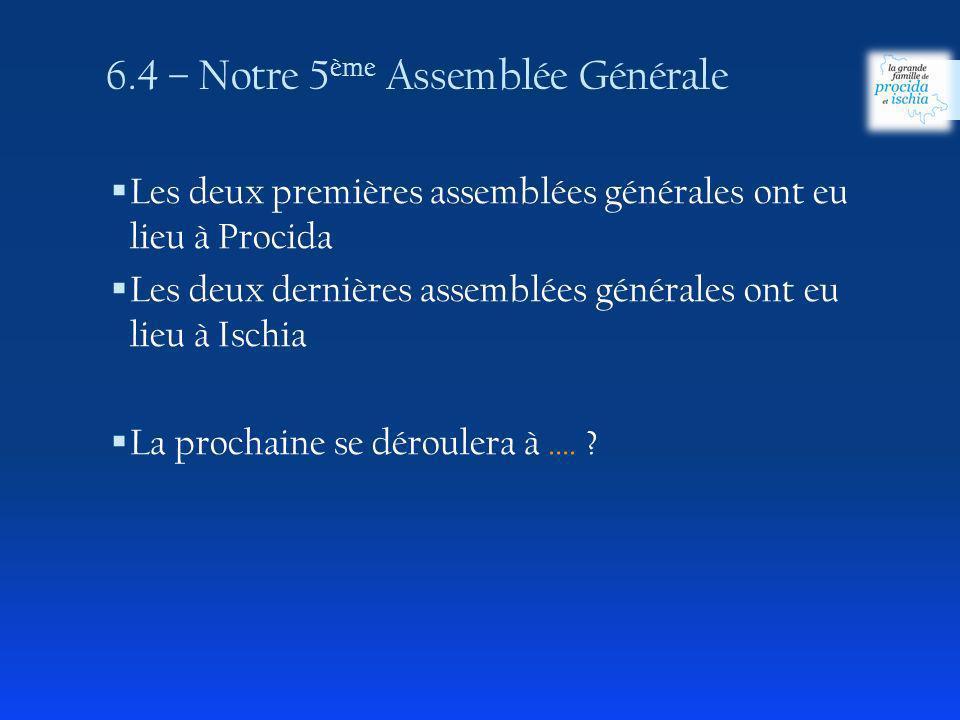 6.4 – Notre 5ème Assemblée Générale
