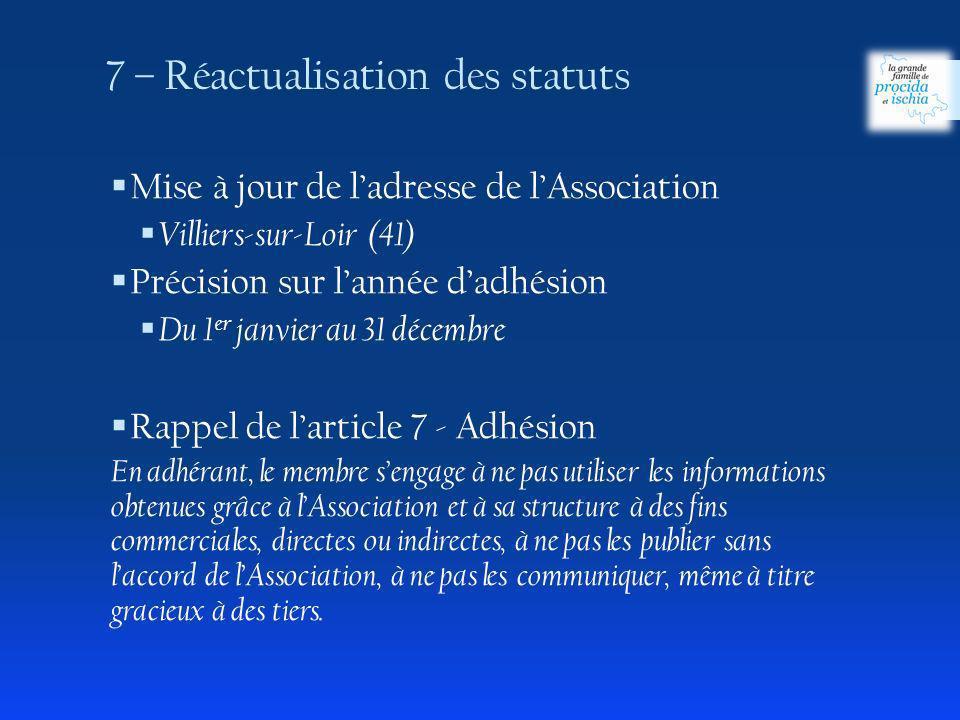 7 – Réactualisation des statuts