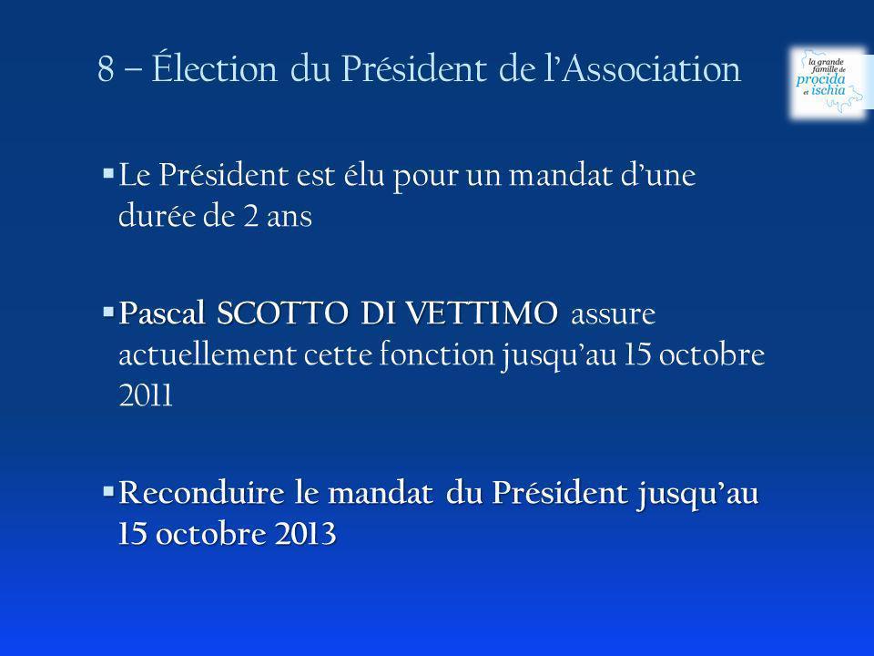 8 – Élection du Président de l'Association