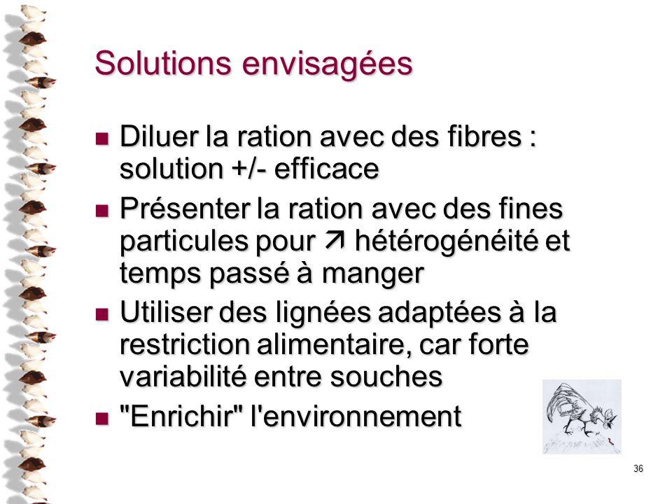 Solutions envisagées Diluer la ration avec des fibres : solution +/- efficace.