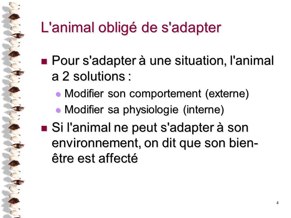 L animal obligé de s adapter