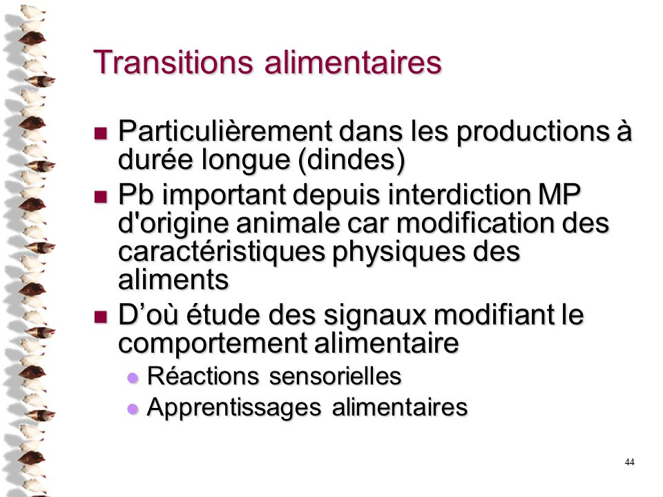 Transitions alimentaires