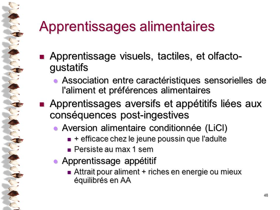 Apprentissages alimentaires