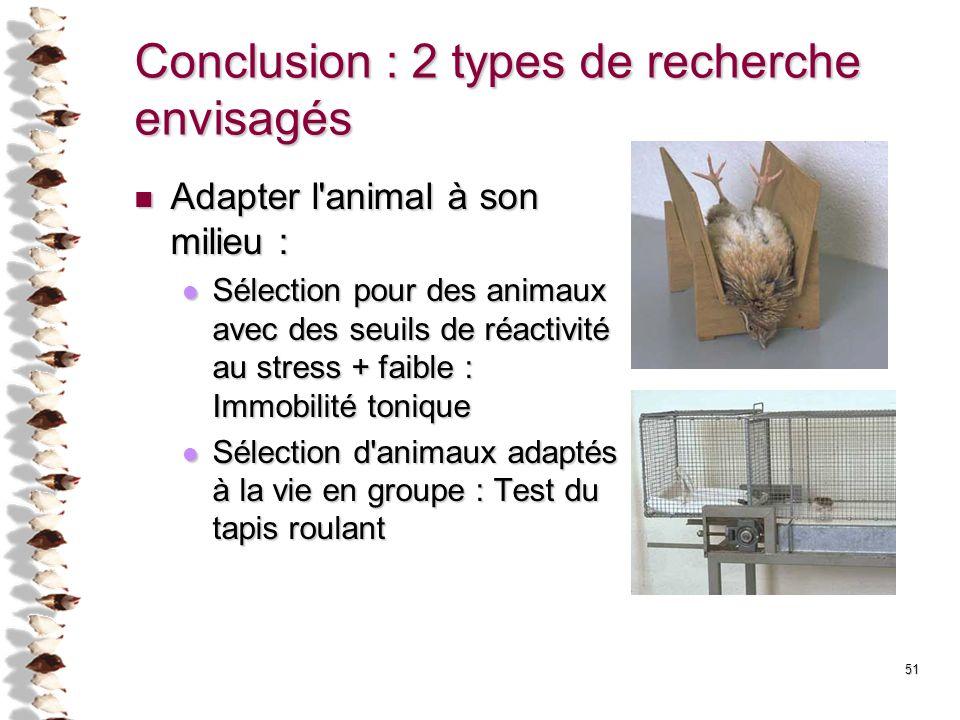 Conclusion : 2 types de recherche envisagés