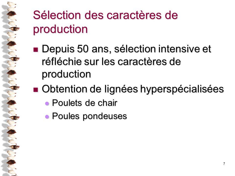 Sélection des caractères de production