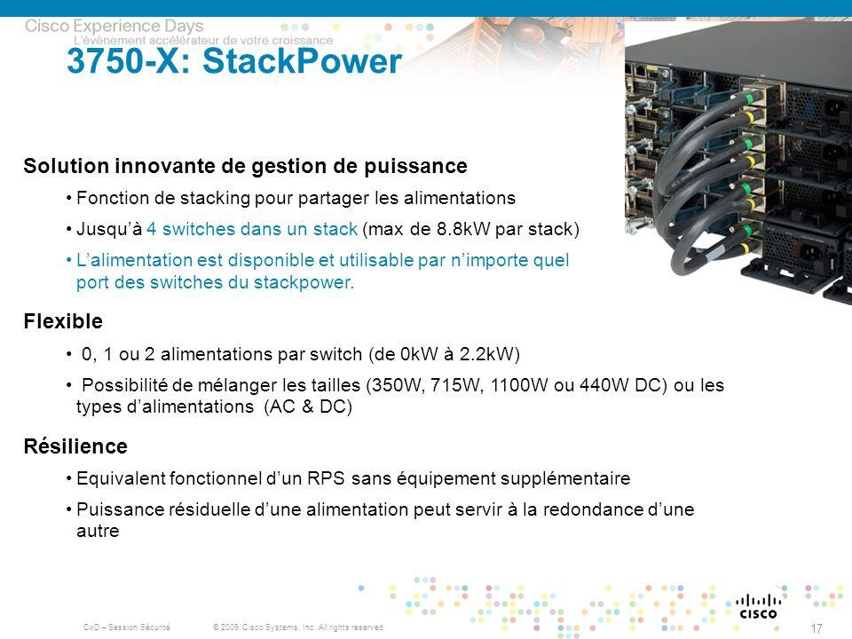 3750-X: StackPower Solution innovante de gestion de puissance Flexible