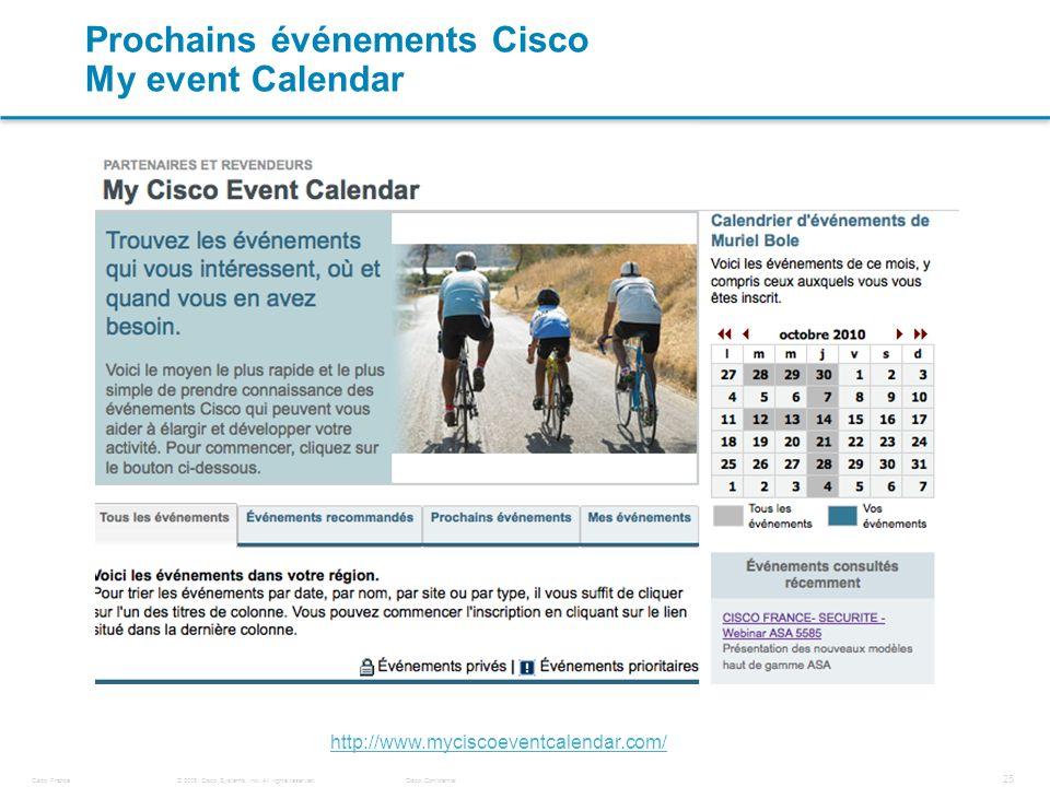 Prochains événements Cisco My event Calendar