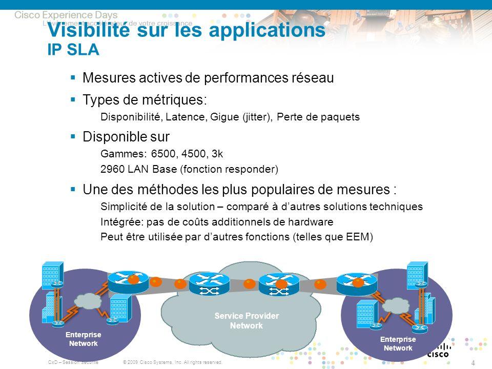 Visibilité sur les applications IP SLA