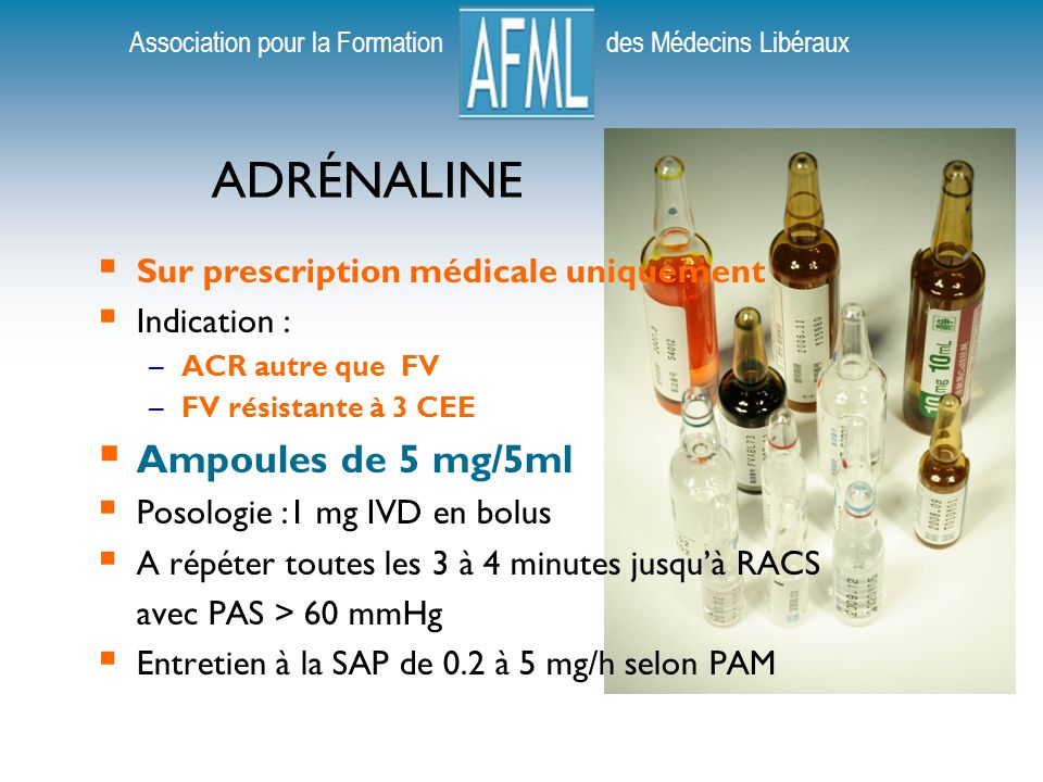 ADRÉNALINE Ampoules de 5 mg/5ml Sur prescription médicale uniquement