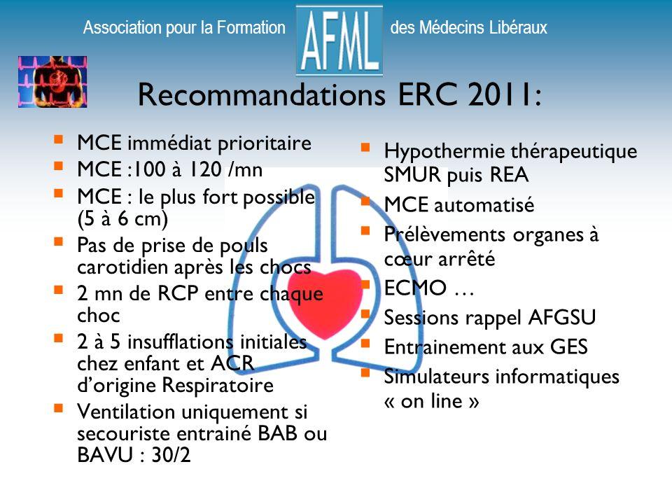 Recommandations ERC 2011: MCE immédiat prioritaire