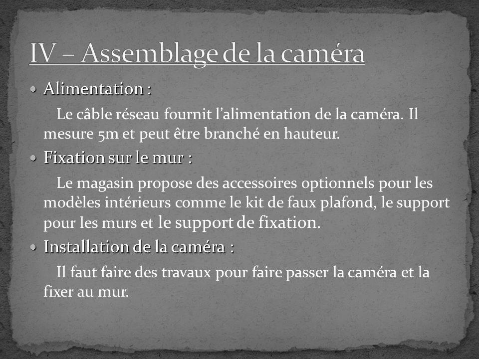 IV – Assemblage de la caméra