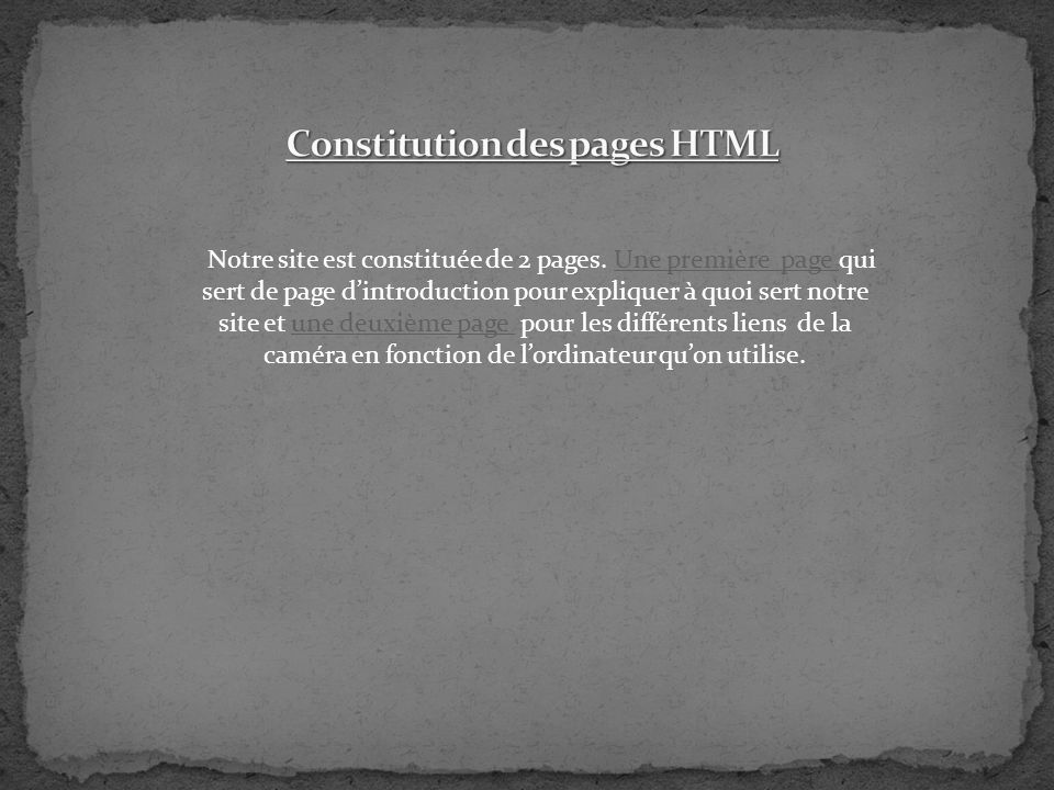 Constitution des pages HTML