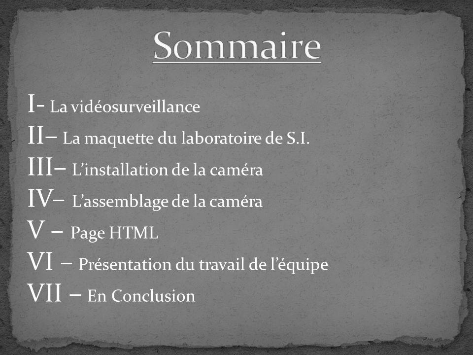 Sommaire I- La vidéosurveillance