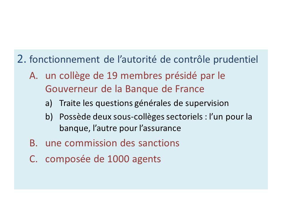 2. fonctionnement de l'autorité de contrôle prudentiel