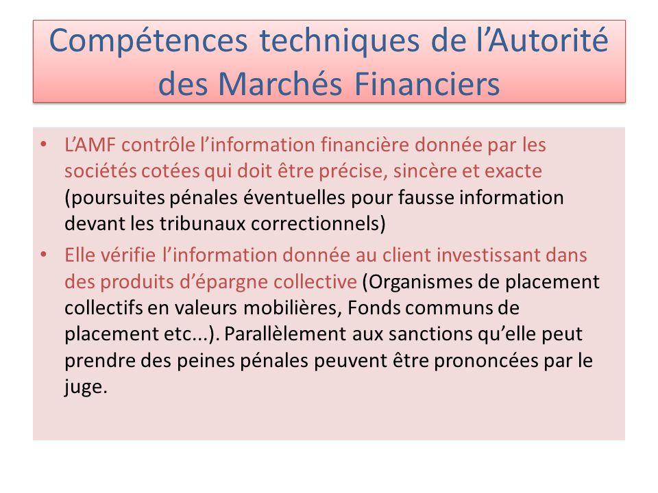 Compétences techniques de l'Autorité des Marchés Financiers