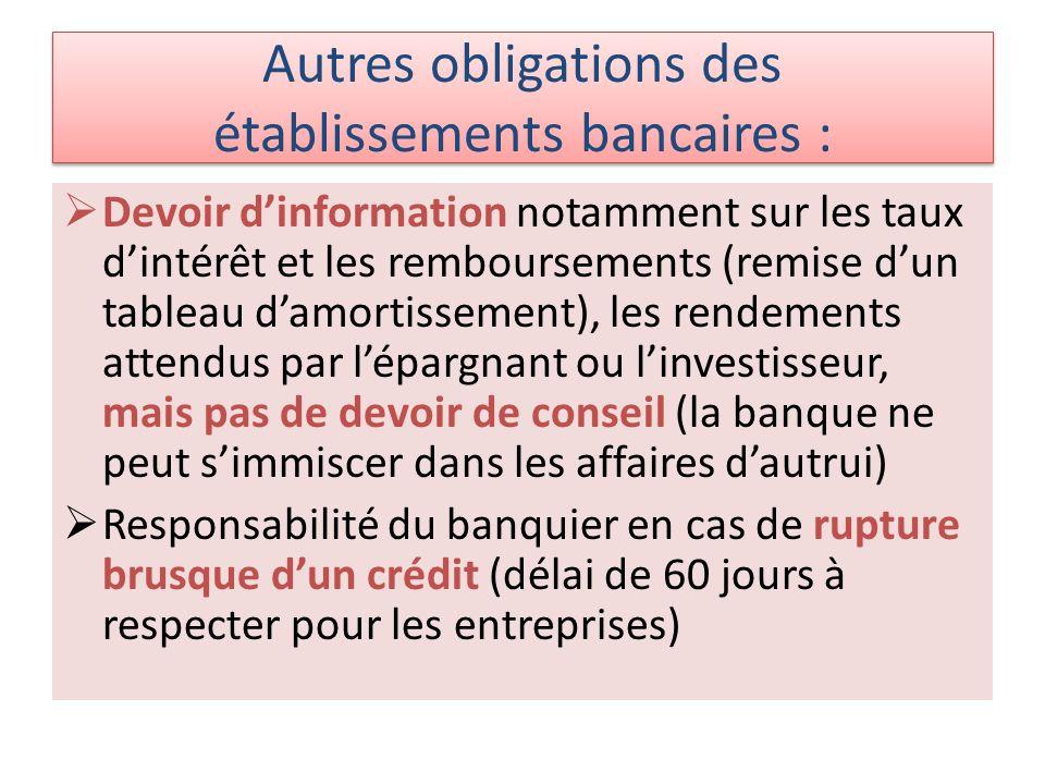 Autres obligations des établissements bancaires :