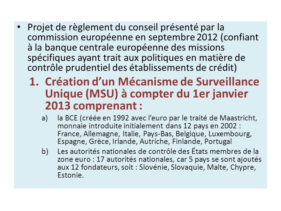 Projet de règlement du conseil présenté par la commission européenne en septembre 2012 (confiant à la banque centrale européenne des missions spécifiques ayant trait aux politiques en matière de contrôle prudentiel des établissements de crédit)