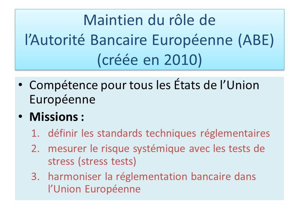 Maintien du rôle de l'Autorité Bancaire Européenne (ABE) (créée en 2010)