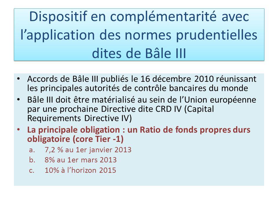 Dispositif en complémentarité avec l'application des normes prudentielles dites de Bâle III