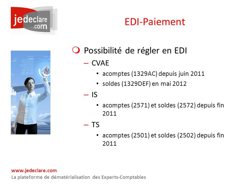 EDI-Paiement Possibilité de régler en EDI CVAE IS TS