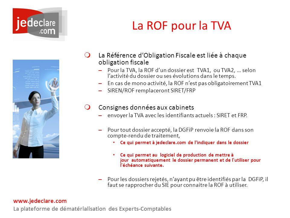 La ROF pour la TVA La Référence d'Obligation Fiscale est liée à chaque obligation fiscale.