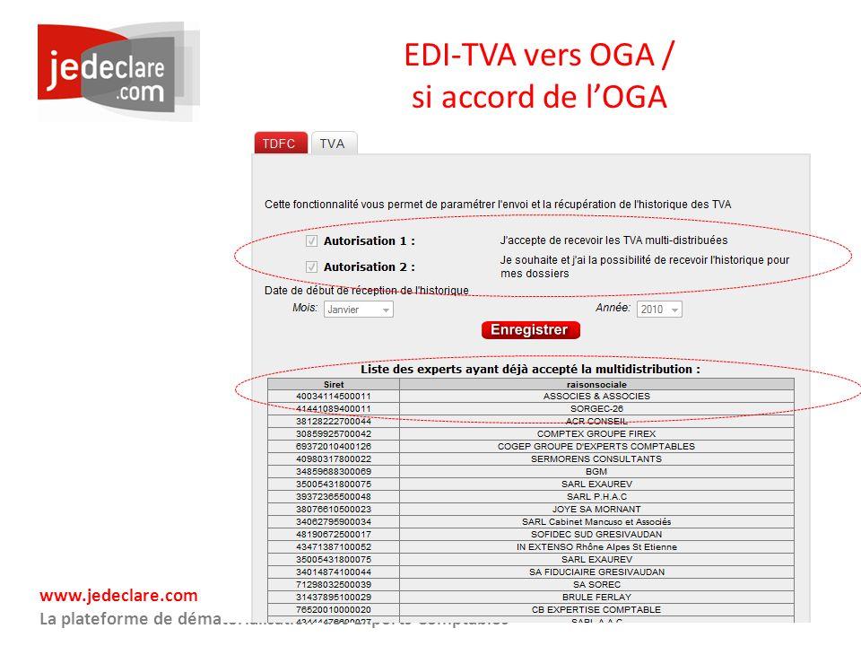 EDI-TVA vers OGA / si accord de l'OGA