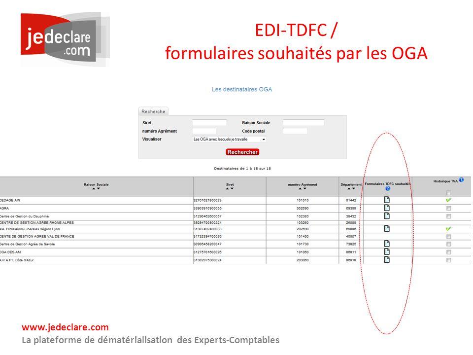 EDI-TDFC / formulaires souhaités par les OGA