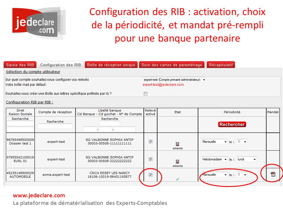 Configuration des RIB : activation, choix de la périodicité, et mandat pré-rempli pour une banque partenaire