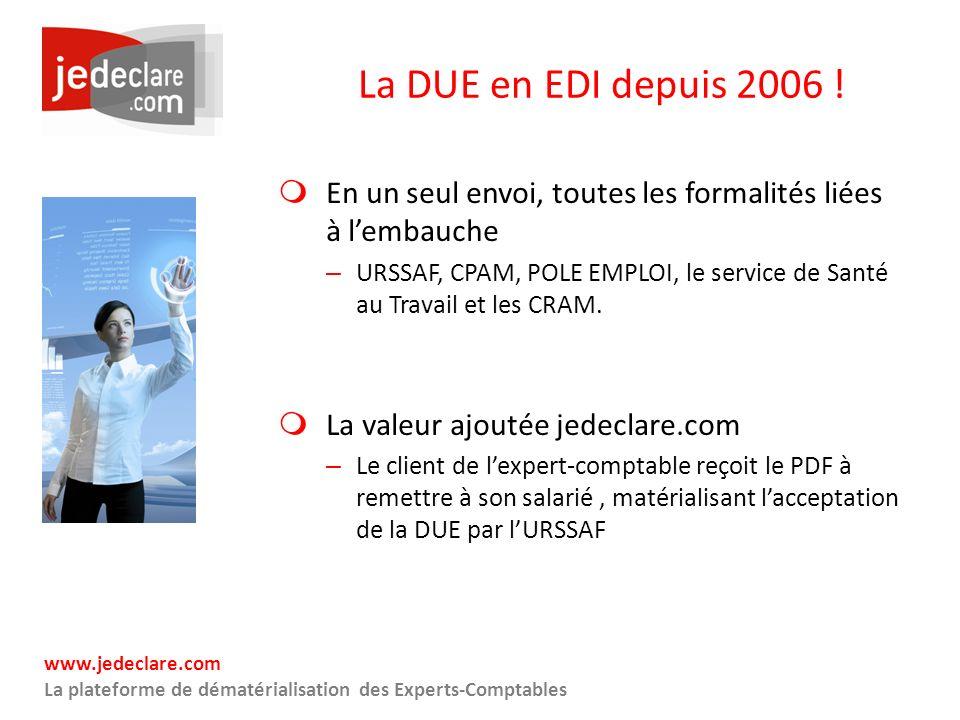 La DUE en EDI depuis 2006 ! En un seul envoi, toutes les formalités liées à l'embauche.