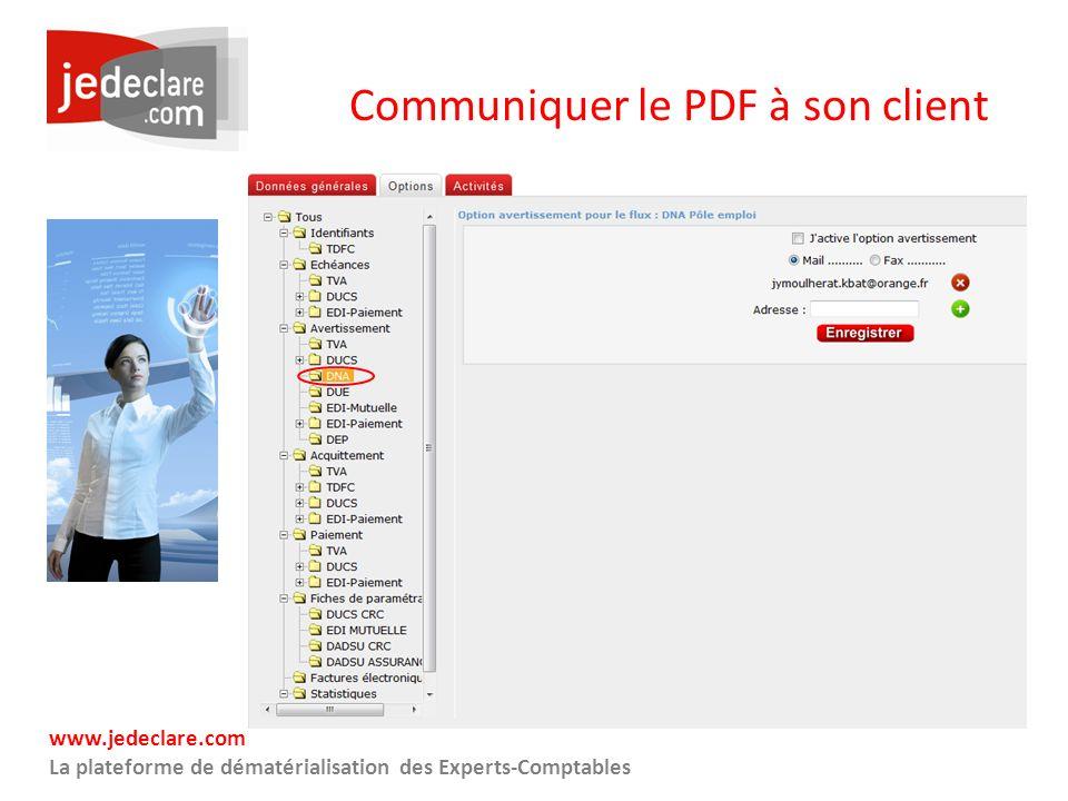 Communiquer le PDF à son client