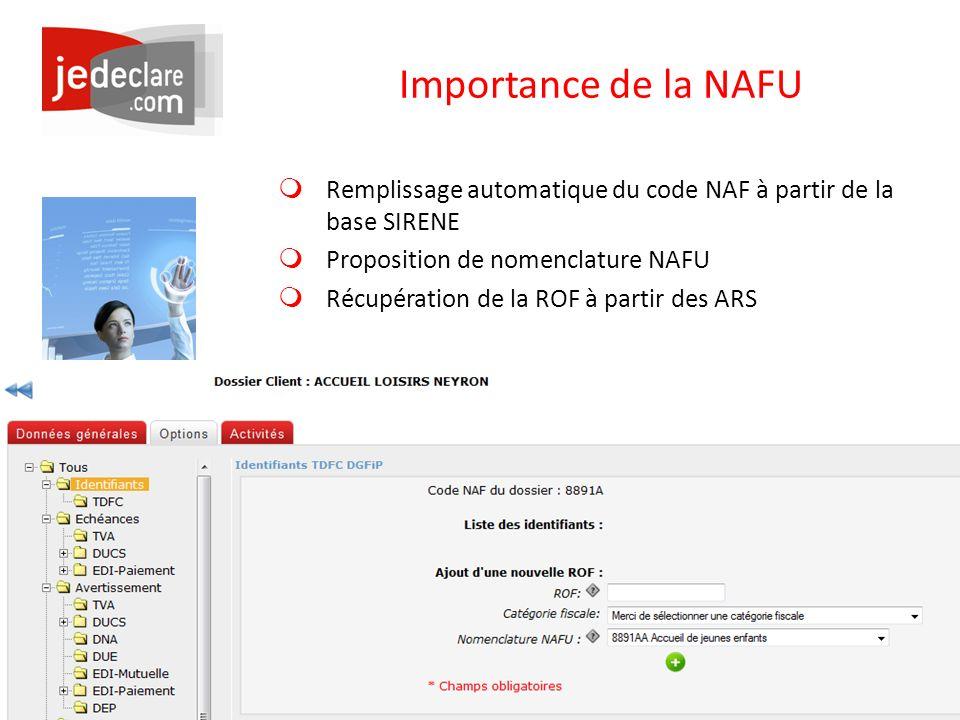 Importance de la NAFU Remplissage automatique du code NAF à partir de la base SIRENE. Proposition de nomenclature NAFU.