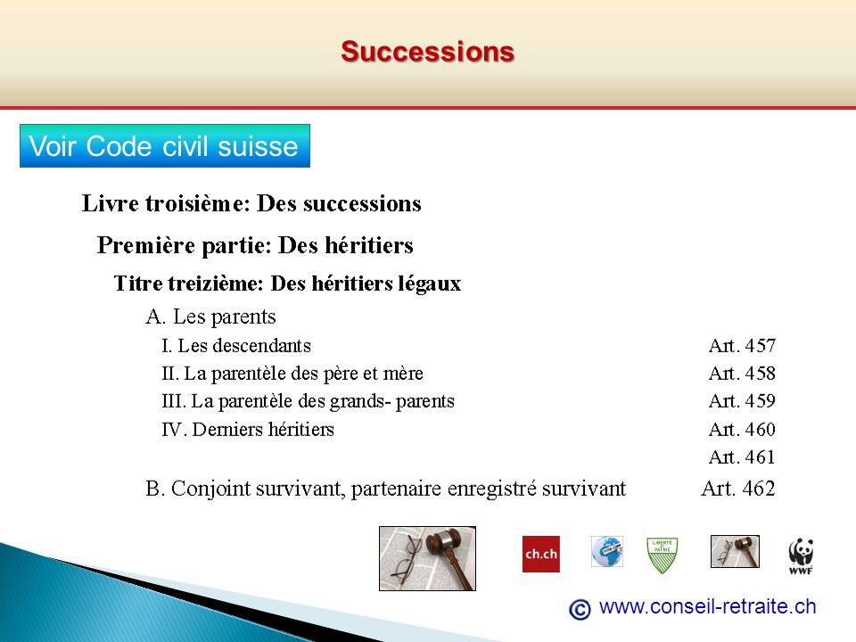 Successions Voir Code civil suisse www.conseil-retraite.ch