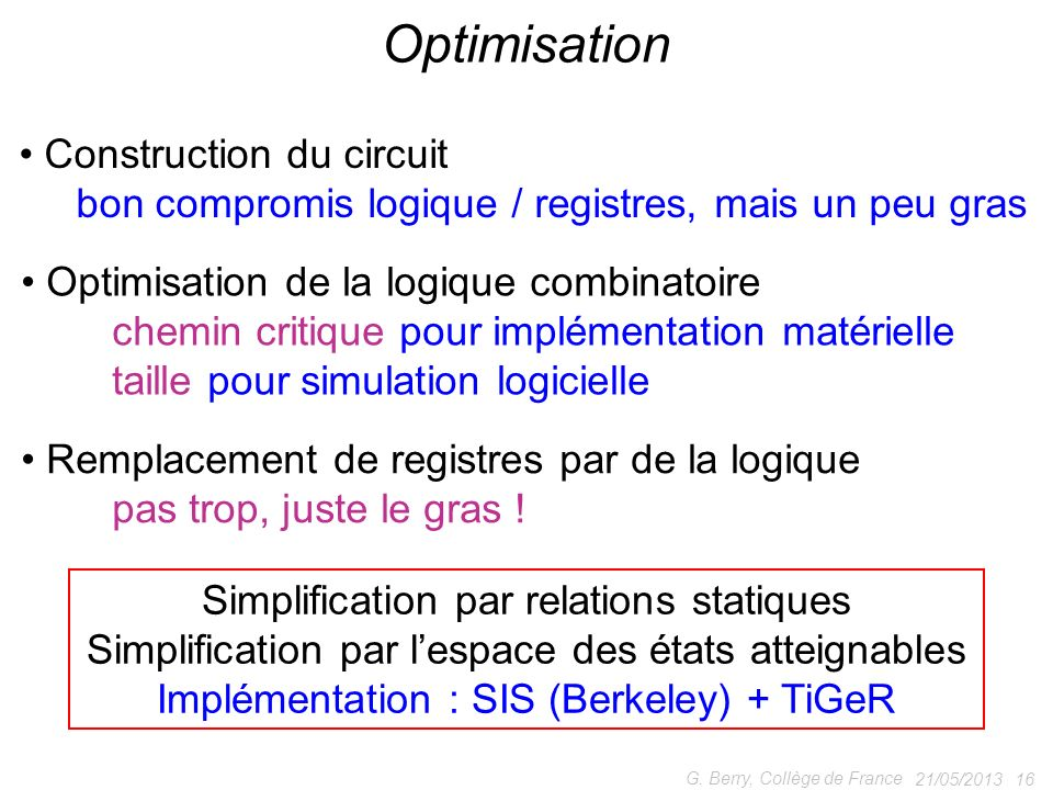 Optimisation Construction du circuit
