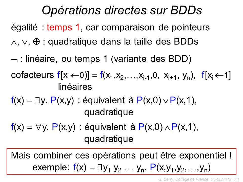 Opérations directes sur BDDs