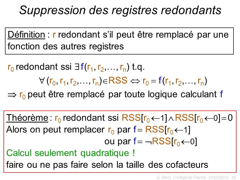 Suppression des registres redondants