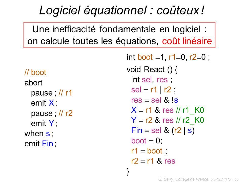 Logiciel équationnel : coûteux !
