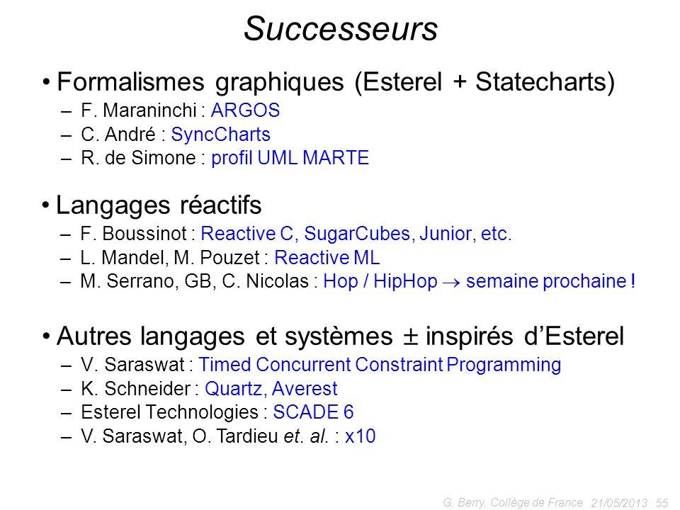 Successeurs Formalismes graphiques (Esterel + Statecharts)