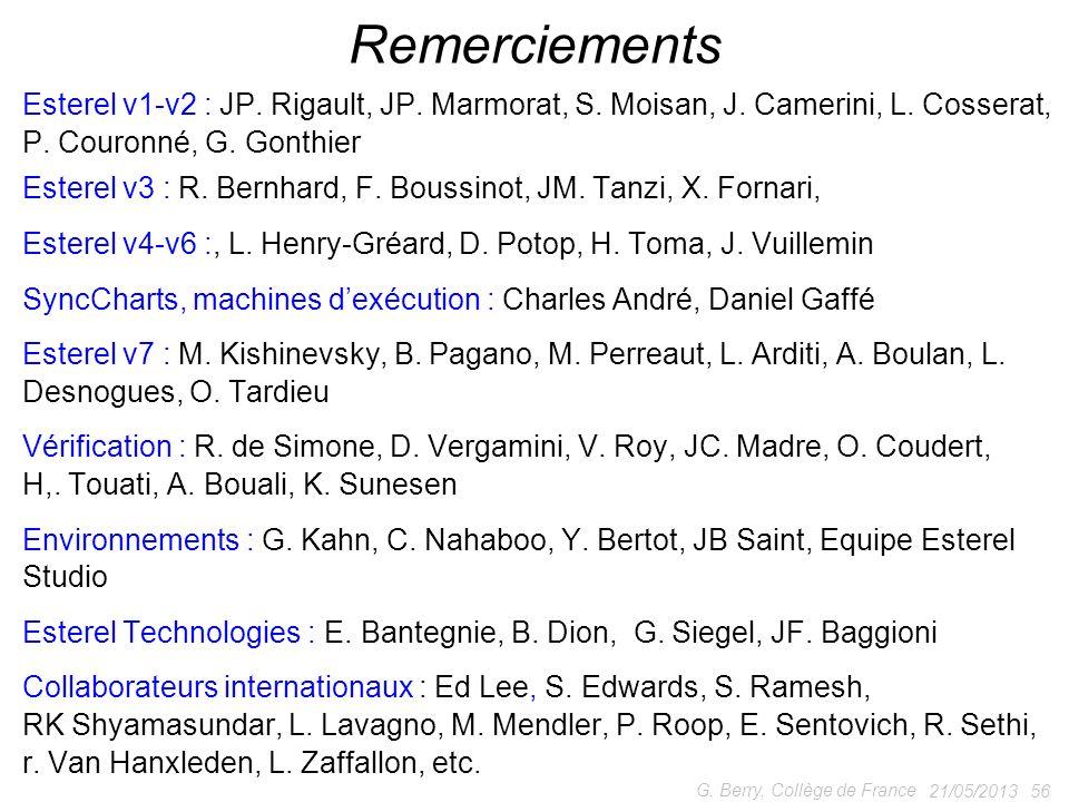 Remerciements Esterel v1-v2 : JP. Rigault, JP. Marmorat, S. Moisan, J. Camerini, L. Cosserat, P. Couronné, G. Gonthier.